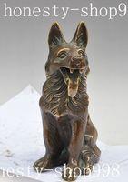 9Old China Fengshui Bronze copper Door Wolf Zodiac Police dog Hound Dog Statue