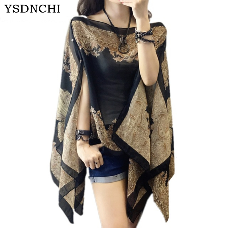 YSDNCHI Fashion Floral Chiffon   Blouses   Women Summer Style Beachwear Cover up Elegant Flower Print Chiffon Loose   Blouse     Shirt
