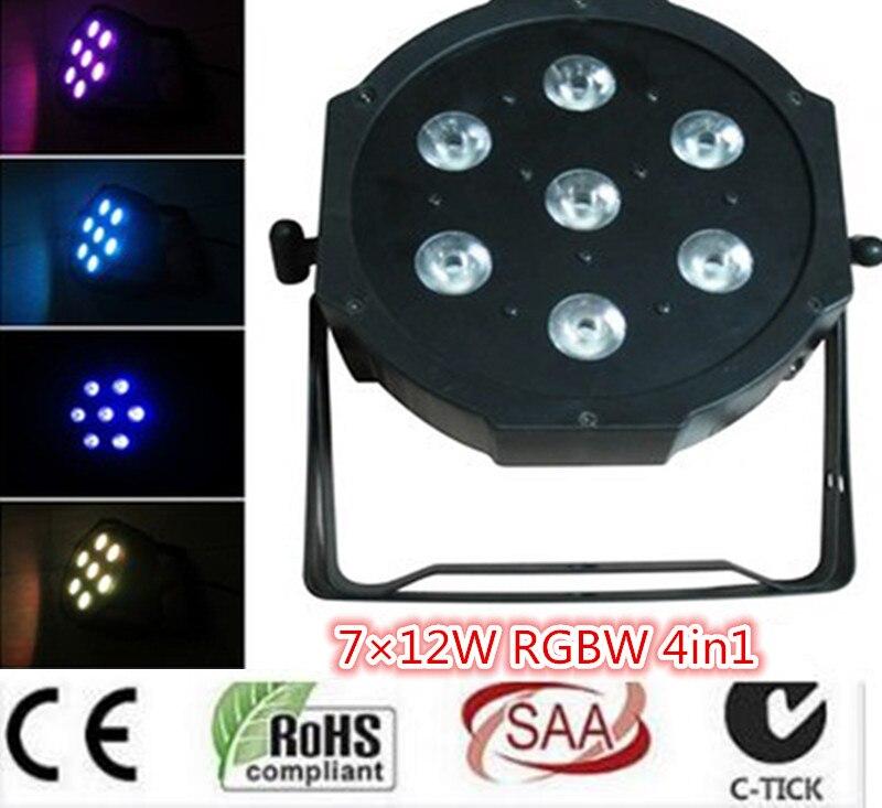 7x12W LED Flat SlimPar Quad Light 4in1 LED DJ dmx light Wash Light Stage Uplighting No Noise dmx dj light 16pcs/lot