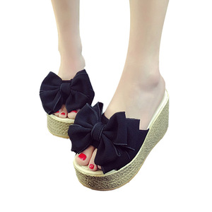 Image 2 - VTOTA Women Slippers Fashion Pee Toe Summer Shoes Butterfly knot High Heels Women Slides Platform Wedges Ladies Women Shoes F66