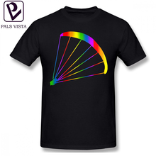 Paraglider T Shirt Colorful Rainbow Sticker T-Shirt Printed Classic Tee Oversized Short-Sleeve Cotton Tshirt