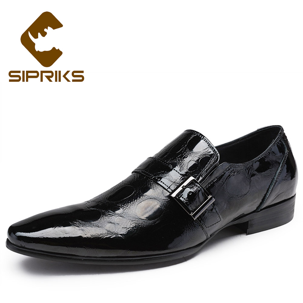 цена на Sipriks Mens Patent Leather Black Shoes Single Monk Strap Shoes Luxury Brand Mens Shiny Shoes Boss Formal Tuxedo Shoes Slip On