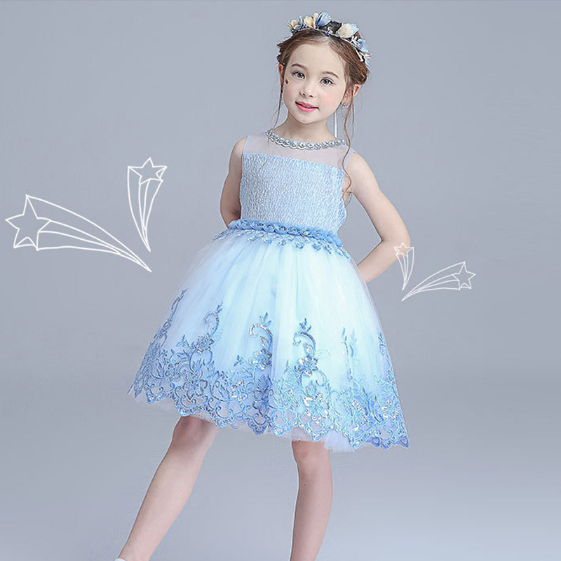 2 Colors girls dress 4-14Years children birthday party costume cute ball gown 2018 new princess dresses floral girls dresses girls dresses 2017 summer new lace speaker sleeves children dress cute embroidered girl dress floral child ball gown party dress