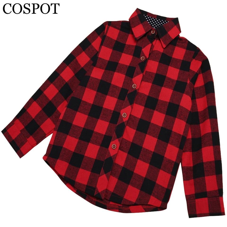 Baby Girls Boys Christmas Long Sleeve Shirt Girl Red Plaid Tops Kids - Children's Clothing - Photo 1