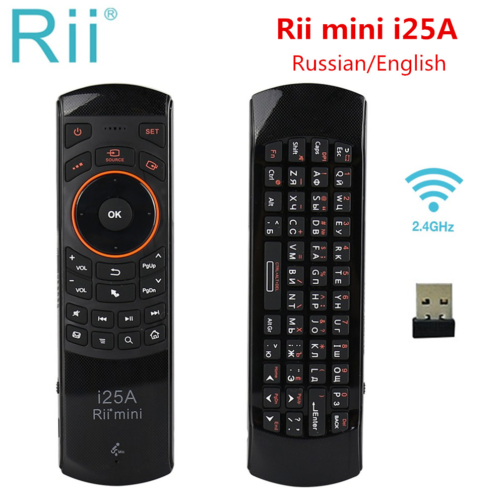 Rii Mini i25A 2.4G sans fil mouche Air souris russe anglais hébreu clavier Rii i25 télécommande pour Android TV télécommande boîte de télévision