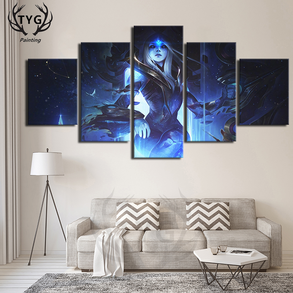 A Room Fit For An Archer: LOL Home Decor 5 Pieces Canvas Painting Ashe Archer