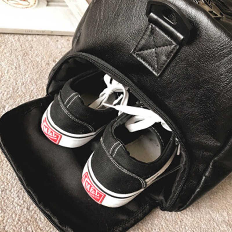 حقيبة قاعة رياضة جلدية حقائب رياضية كبيرة MenTraining Tas للأحذية سيدة اللياقة البدنية اليوغا سفر الأمتعة الكتف الأسود كيس دي الرياضة