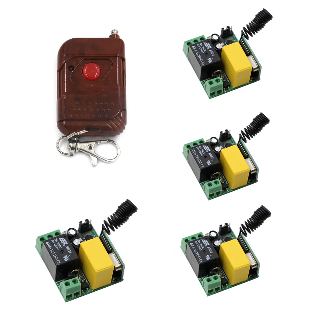 High Quality AC 220V 1CH RF Wireless Remote Control Light Switch 10A Relay 1* Transmitter & 4*Receivers Smart Home Switch wireless remote control switch ac 220v 1ch high power 4 receivers transmitter on off controller home office pump led motor fan
