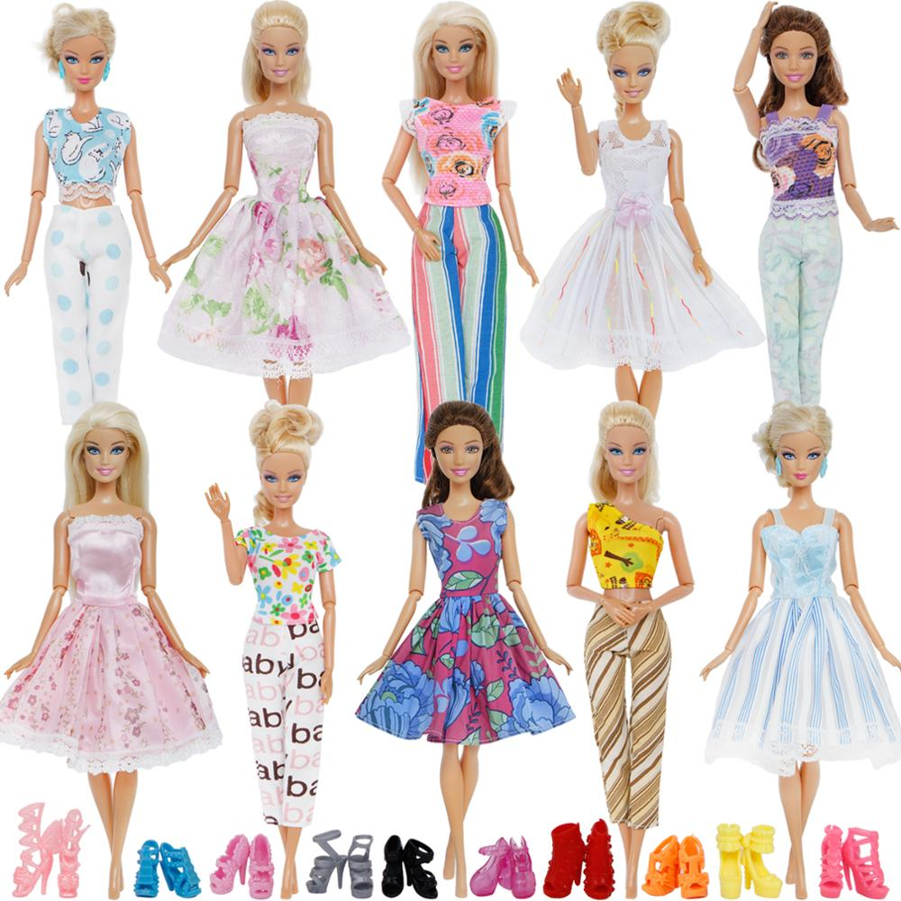 20 Pcs/Lot = 5x Blouse Trousers Outfit + 5x Princess Dress Gown + Random 10x Shoes Accessories Clothes For Barbie Doll Gift Toy