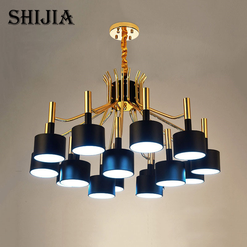 люстра chandelier 6 arm European Style 12/15 Arm Black/White Lampshade Nordic New Design Chandelier Lighting For Parlor Restaurant Hot Lampe Verlichting