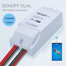 Nueva Sonoff Casa Inteligente Dual Wifi Interruptor de Control Remoto Inalámbrico, Inteligente Interruptor Temporizador Interruptor 220 V de Control A Través de Android IOS