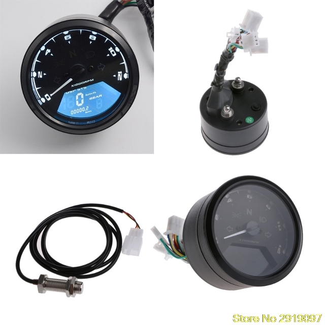 New Multi-function LCD Digital Motorcycle Odometer Tachometer Speedometer Gauge Drop Shipping Support
