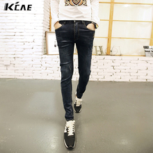 2016 fashion ripped jeans men, slim printed jeans Fall  Men Xiao Han version feet pants hole jeans tide