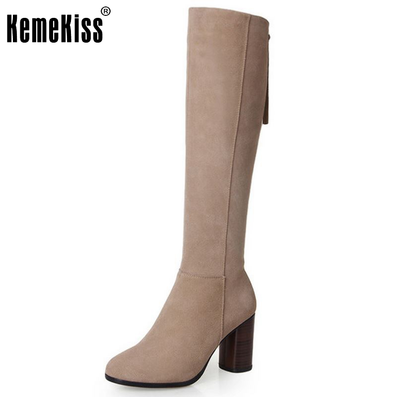 New Round Toe Knee High Real Genuine Leather Boots Fashion Women Shoes Ladies Medium Heel Autumn Boots Size 34-39 nayiduyun new fashion thigh high boots women genuine leather round toe knee high boots high heel party pumps casual shoes