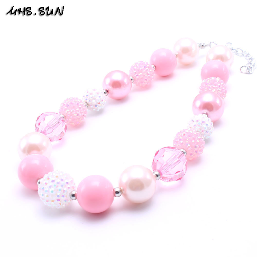 Craft beads in bulk - 2pcs Diy Pink Style Girl Fashion Necklace Child Beads Bubble Gum Necklace Kids Chunky Jewelry In Bulk Free Shipping