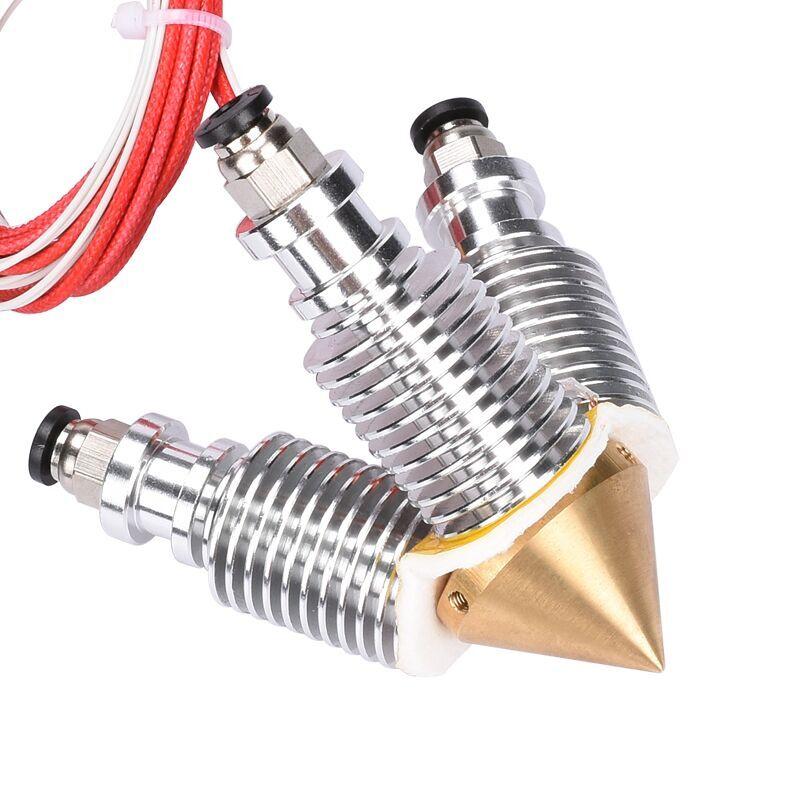 V6 Brass Diamond Nozzle Hotend Extruder Multi Nozzle 3 In 1 Out 0.4MM Nozzle 1.75MM Filament 3D Printer Kit  1