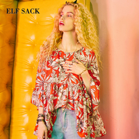 ELF SACK Blouses Red Womens Tunic A line Chiffon Shirts Women Floral Flare Sleeve Print Elegant OL Flowers Printing Blouse