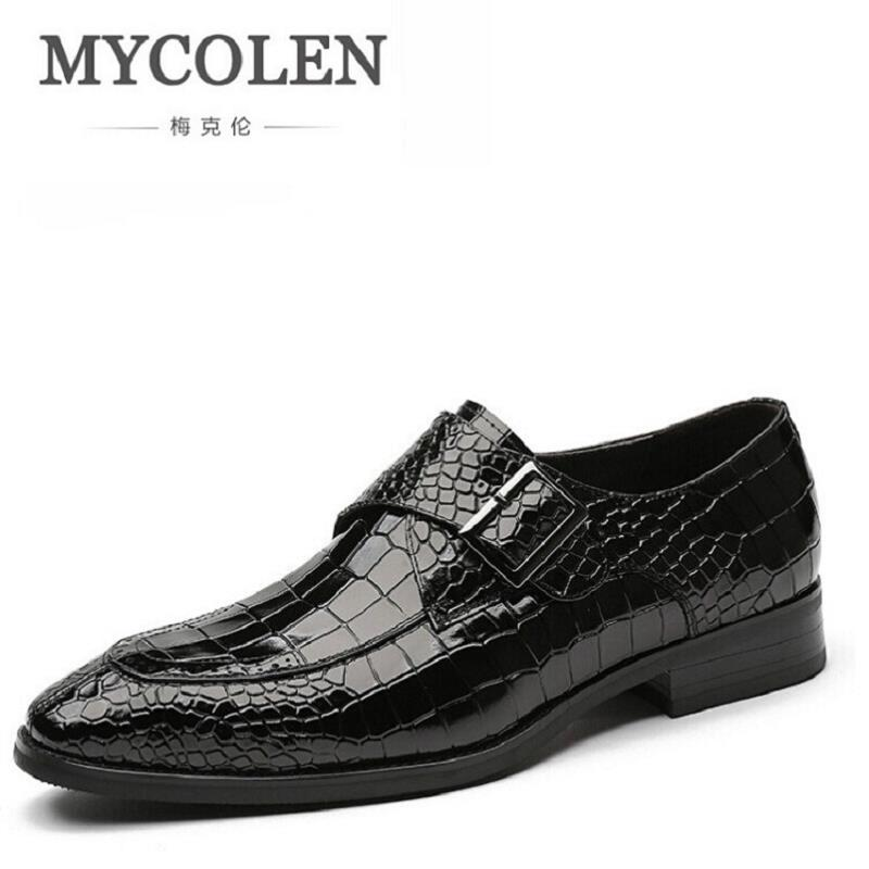 все цены на MYCOLEN Stone Pattern Oxfords Formal Shoes Mens Leather Wedding Shoes Black Loafers Shoes Winter Party Office Men Dress Shoe онлайн