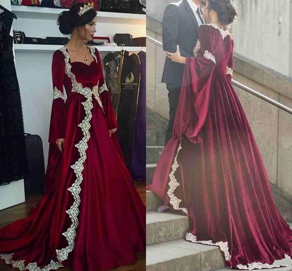 Burgundy Muslim Abaya Velvet   Evening     Dresses   With Long Sleeves Caftan Dubai Formal Prom   Dresses   2019 vestidos de fiesta de noche