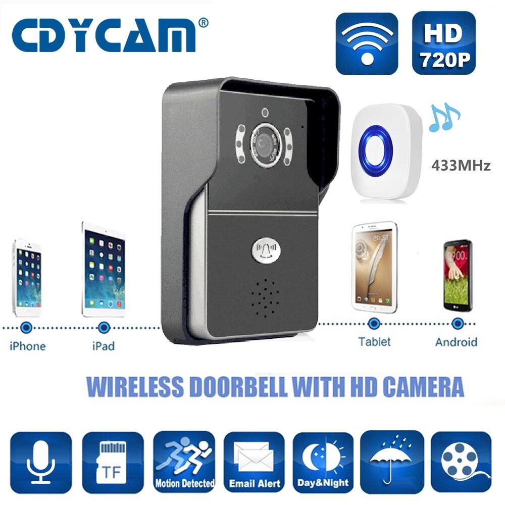 imágenes para CDYCAM Hi3518E de timbre de la Cámara wifi 433 MHz apoyo 5 usuarios H2.64 HD de 1.0MP 720 P IR-CUT Visión Nocturna timbre inalámbrico a prueba de agua