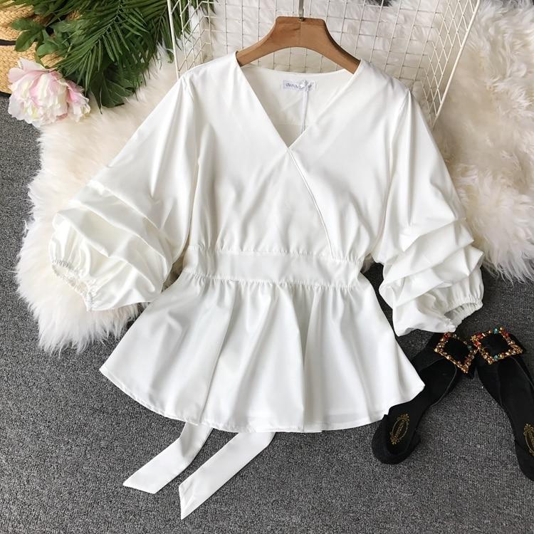 2109 Spring Women V-neck Puff Sleeves Blouse Slim Tunic Tops Retro Vintage Pullovers Busos Para Mujer Kimonos 97