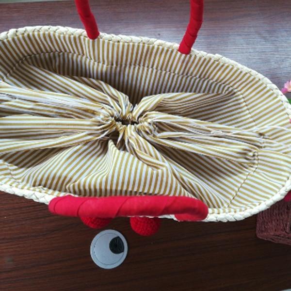 LJL Summer Shopping Large Totes Boho Bags Red Cherry Pom Ball Design Beach Bag Handmade Woven Straw Handbags for Women Shoulde