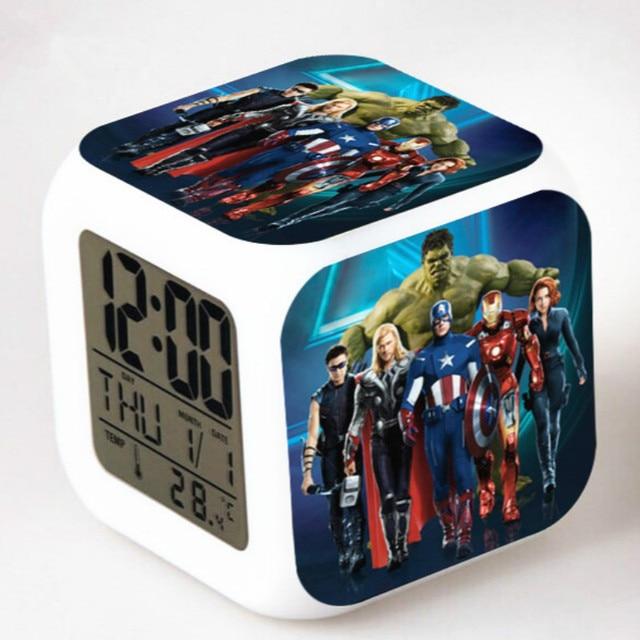 Super Hero Alarm Clock Kids Cool Batman Spiderman Digital Led Electronic Desk Wake Up Light Reveil Star Wars Table