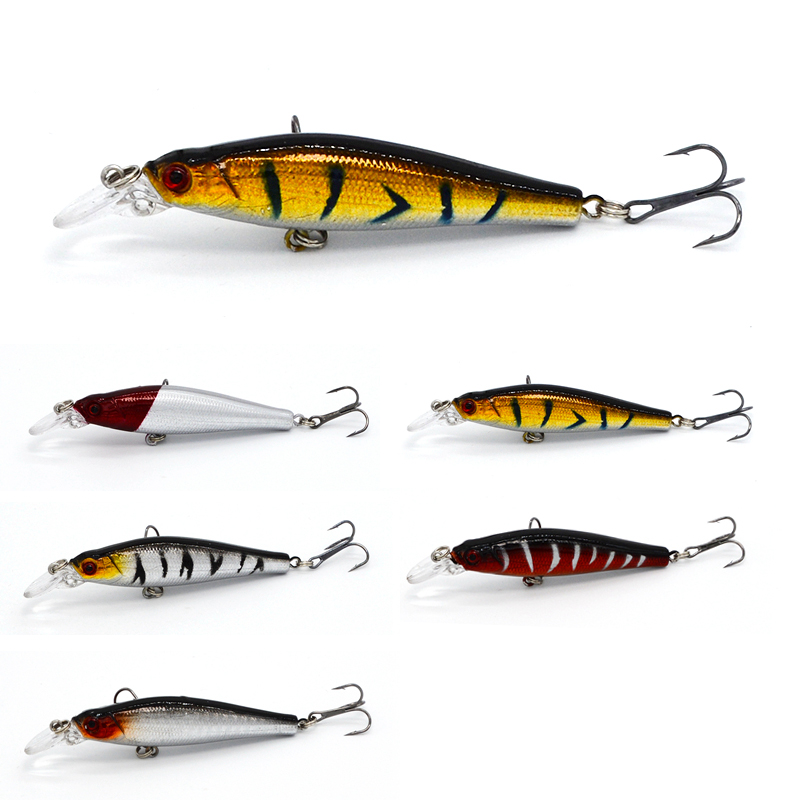 1Pcs Wobblers Tackle Bass Trout Bait Fishing Lure Minnow Wobbler 8cm 8.4g Hard Baits Diving 0.5-2m 3D eyes wldslure 1pc 54g minnow sea fishing crankbait bass hard bait tuna lures wobbler trolling lure treble hook
