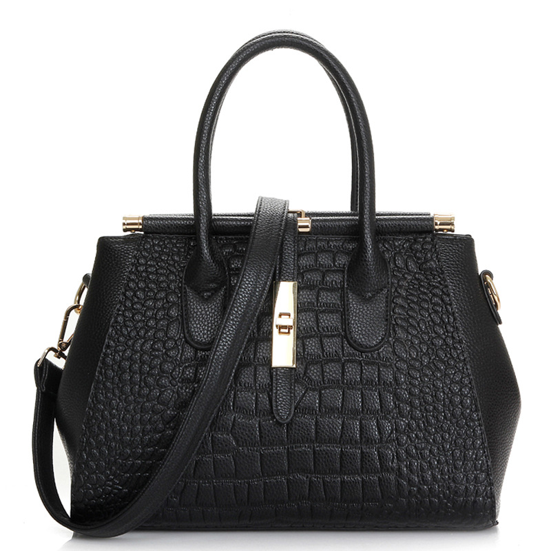 Women Genuine Leather handbags Europe and the United States fashion cross section embossed crocodile pattern shoulder bags new tide lingge europe and the united states fashion leather handbag ladies cross section cowhide shoulder slung small square ba