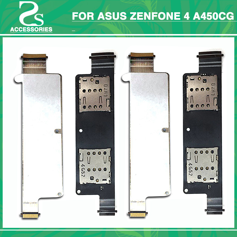 New For Asus zenfone 4 A450CG 4.5 SIM Card Reader Holder Connector Slot Socket Mobile Phone Sim Cards Adapters ...