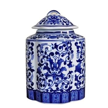 Jingdezhen blue and white porcelain glaze color ceramic jar European storage tank tea trade porcelain flat pot flower