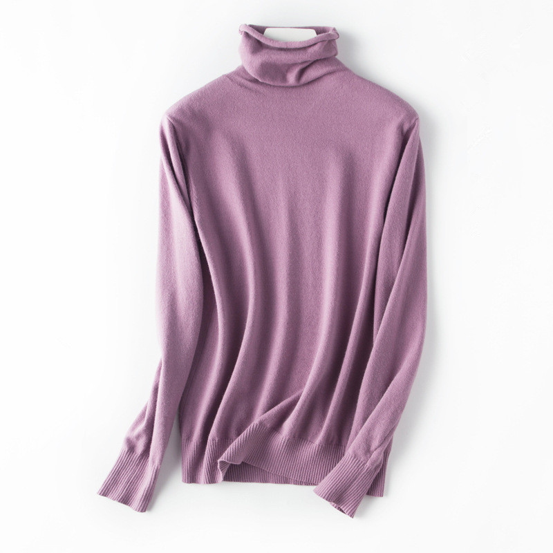 High Quality Elegant Purple Sweater For Women Cashmere Turtleneck Pullovers Winter Warm Basic Lady's Sweater Cashmere Jumper