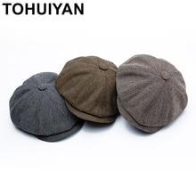 22d31c92e8472 TOHUIYAN hombres 8 pieza lana mezcla de vendedor de tapa plana de pico  visera octogonal sombrero