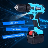 21V 1.5Ah Two Speed Lithium Battery Electric Screwdriver Drill 3/8 inch Rechargeable Wireless Cordless Drill Driver Power Tools