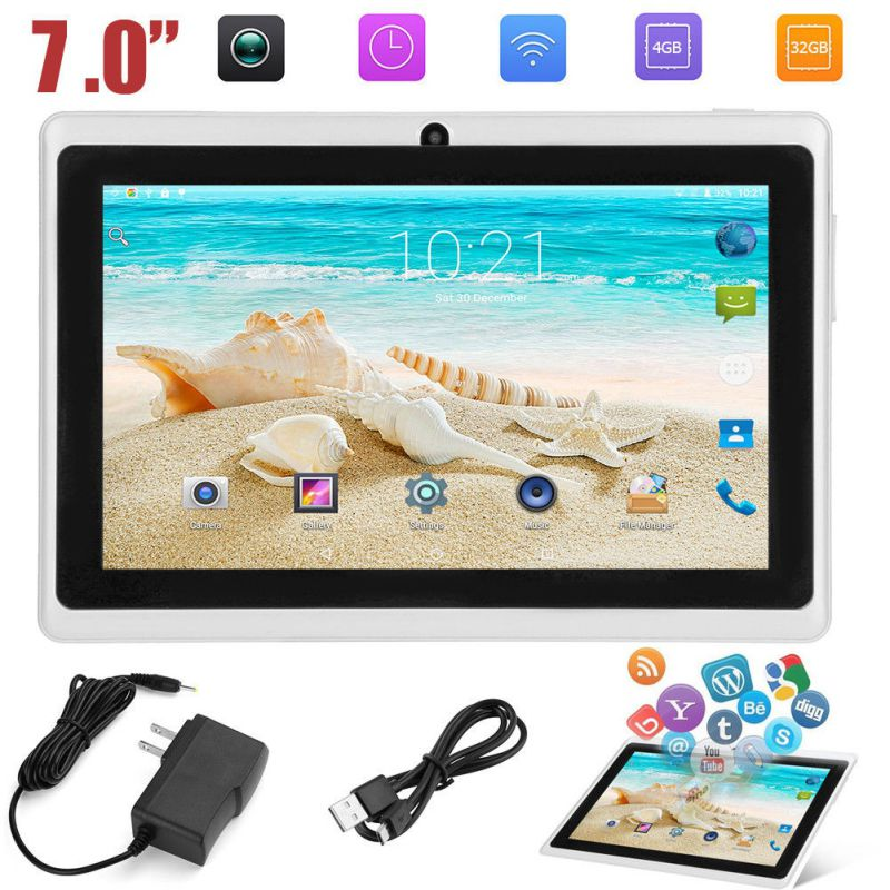 7 inch Quad-core wifi Tablet PC 512M+4G Q88 Android Tablets with UK/US/AU Power Supply Adapter(China)
