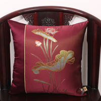 Classic Lotus Print Fabric Cover Cushion Merry Christmas Pillow Case Sofa Chair Cushion Case High End Pillow Cover Decorative