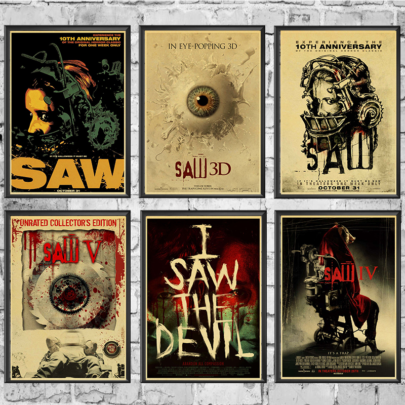 Saw Classic Horror Film Posters Home Furnishing Decoration Kraft Movie Retro Poster Drawing Core Wall Painting