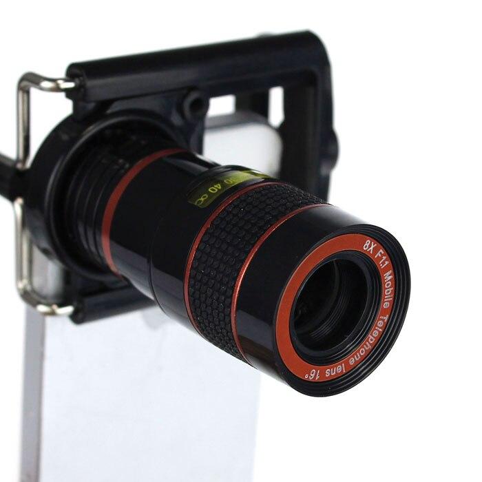 imágenes para Super Macro 8 x Zoom telescopio Universal de teléfono móvil lente de la cámara con soporte para el iPhone Samsung Galaxy HTC Nokia