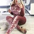 Новых женщин Осень Зима Устанавливает Velvet Спортивные Костюмы С Длинным Рукавом Пуловер Топ И Шнурок Брюки Случайных 2 Из Двух Частей Набор одежда