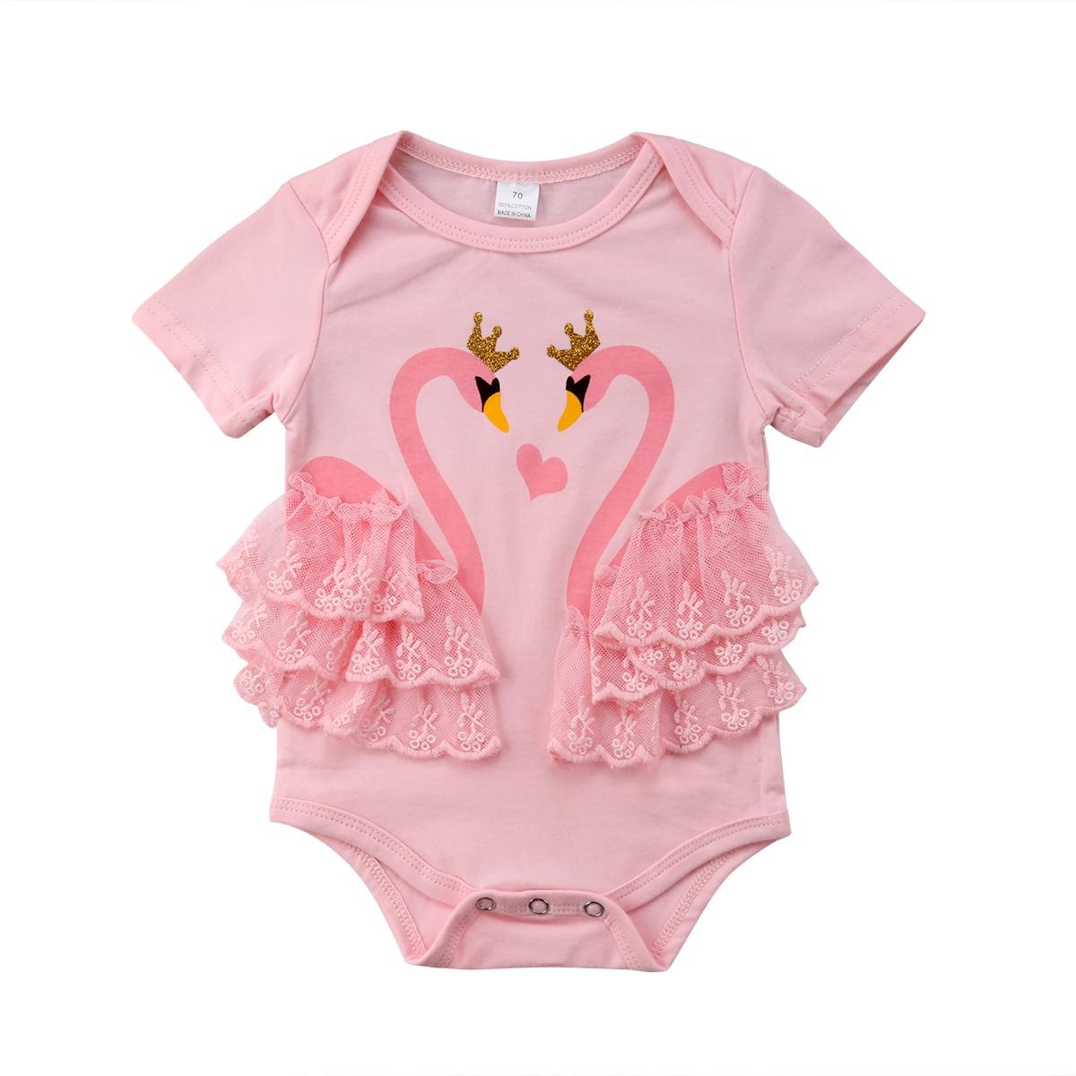 Infant Baby Girl Newborn Swan Romper Jumpsuit Bodysuit Outfits Sunsuit Clothes