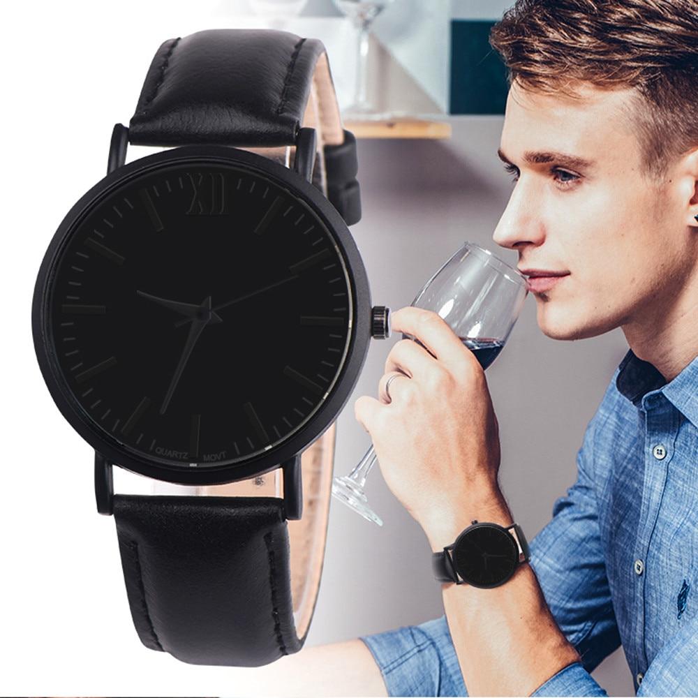 relogio masculino Men Leather Band Analog Quartz Round Wrist Watch Watches erkek kol saati
