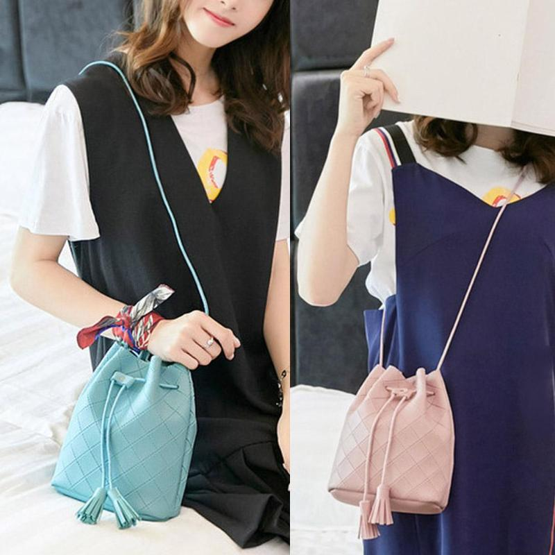 5 Solid Candy Colors Casual Women PU Leather Tassel Drawstring Crossbody Handbags Shoulder Bucket Bags Bolsa Feminina