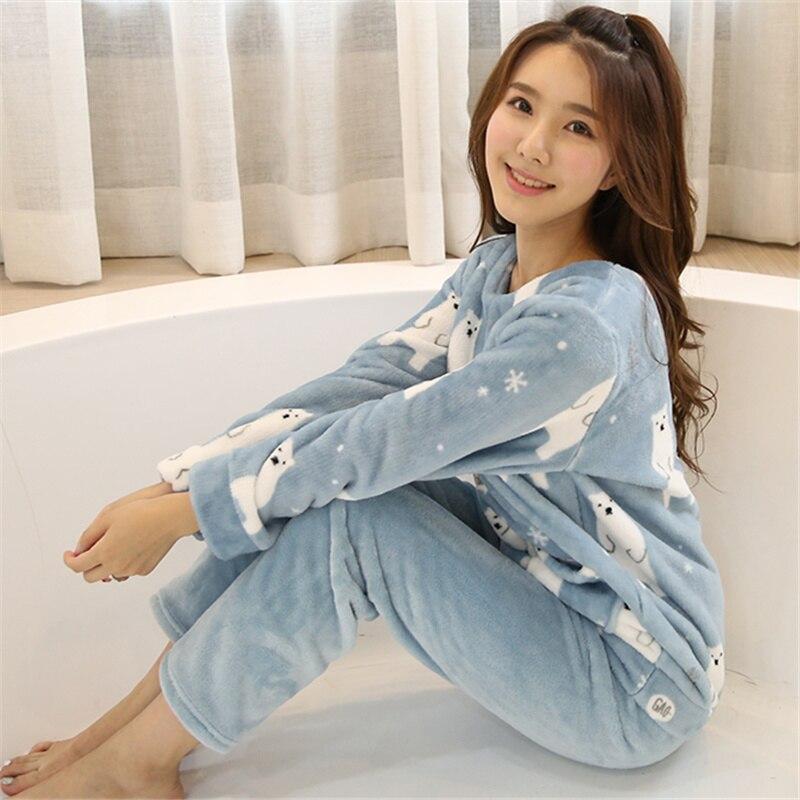 2PCS/Lot Autumn Winter Thick Women Pyjamas Sets Sleepwear Suit pajamas Flannel Warm Cartoon Animal Cute Pijama Bear Sleepwear 33