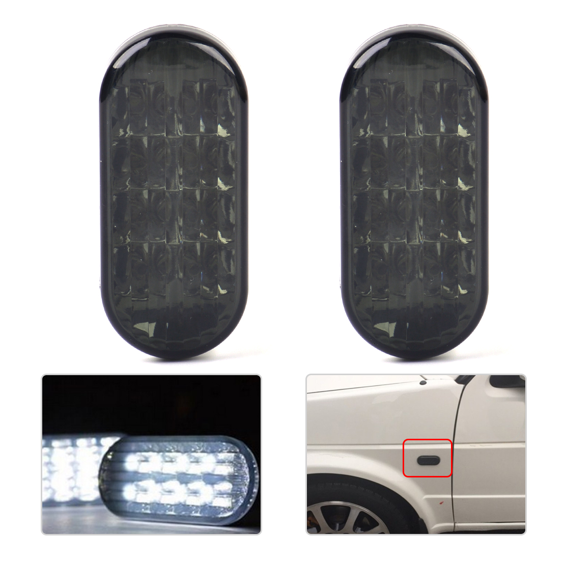 CITALL 2PCS White / Yellow Light Side LED Marker Light Lamp Indicator For VW Golf Jetta Bora MK4 Passat B5 B5.5 1999 - 2003 2004 jeazea glove box light storage compartment lamp 1j0947301 1j0 947 301 for vw jetta golf bora octavia 2000 2001 2002 2003 2004