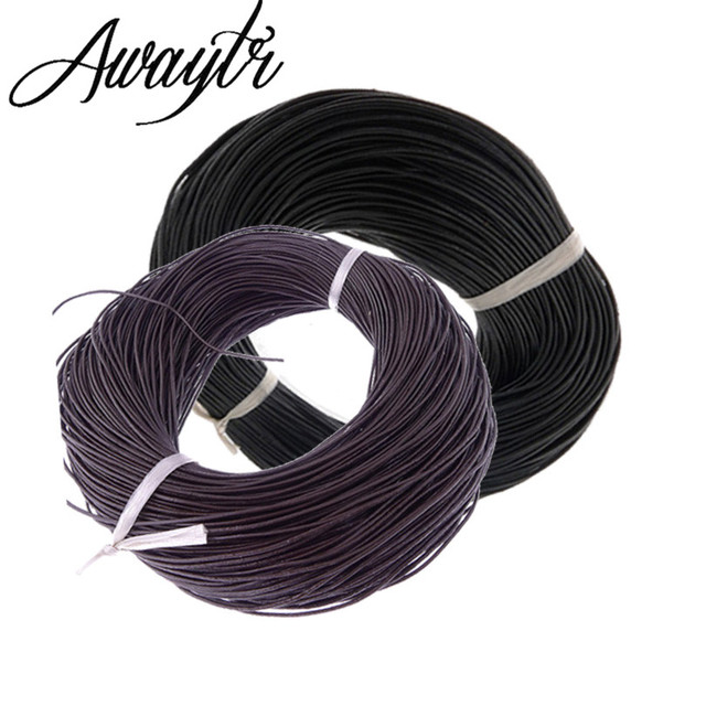 Awaytr 50M/Lot Khaki 1 mm Leather Cord for Bracelet Jewelry Findings Top Quality DIY Accessories Supplies for Jewelry Making