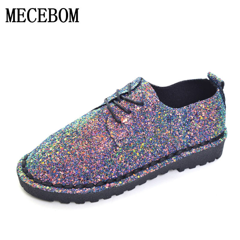 2018 Bling Gitter Creepers Platform Oxfords Shoes Woman 2018 Lace-Up Flats Fashion Casual Women Flat Shoes footwear 706W lanshulan bling glitters slippers 2017 summer flip flops platform shoes woman creepers slip on flats casual wedges gold