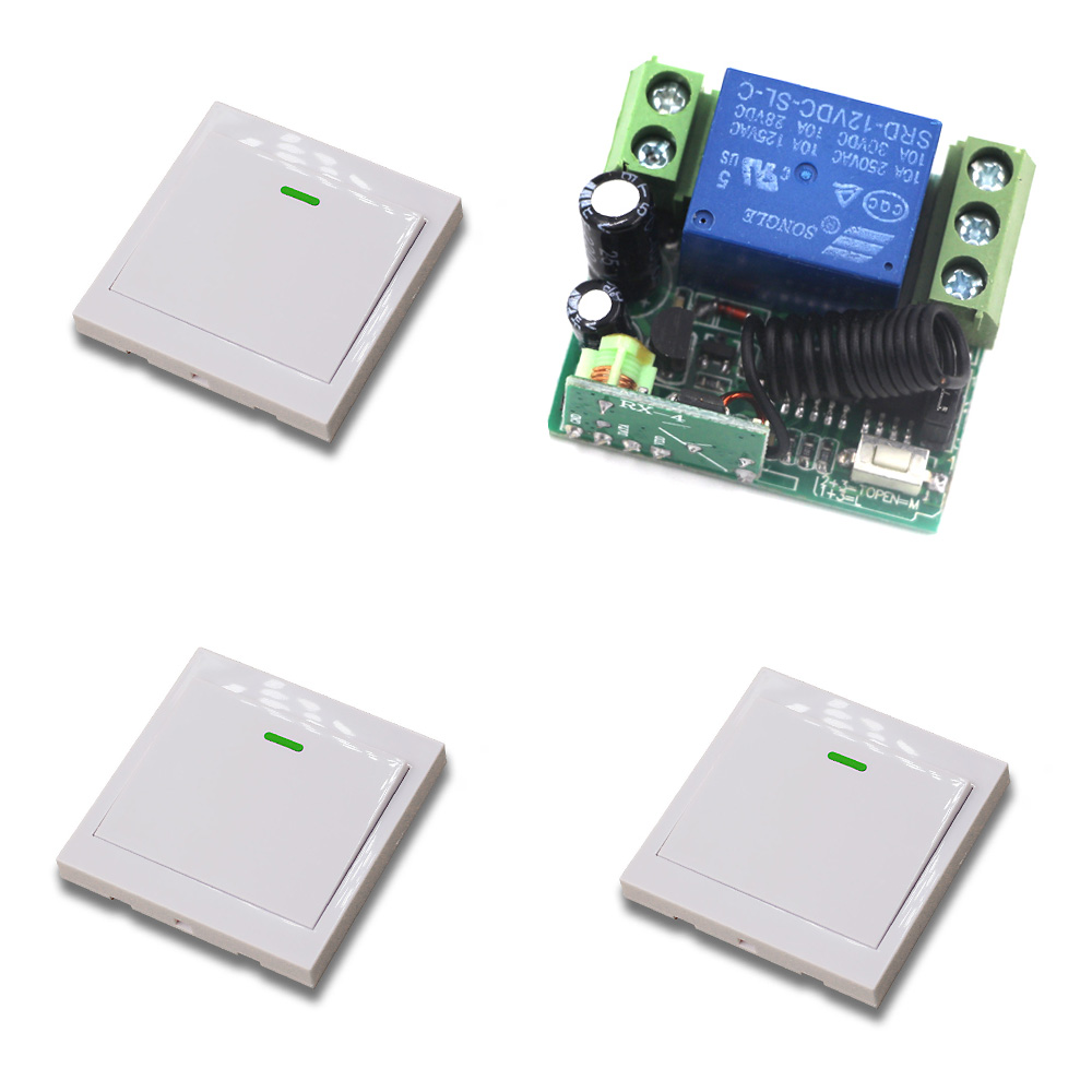 12V Wireless Remote Switch System Radio Control Switch 10A 1CH Mini Receiver Relay Wall Transmitter Learning Code 315/433Mhz ac 220v 10a wireless remote control switch 1ch relay receiver module wall transmitter radio light switch fixed code 315 433mhz