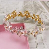Bride Crystal Column Large Round Pearl Tiara Crown Golden Leaves Hair Ornaments Ceramic Flower Jewelry 5666B