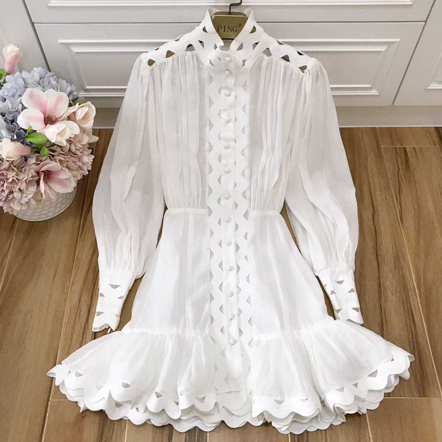 Red RoosaRosee New Spring Summer Designer Women s Lantern Sleeve Embroidery Hollow Out Linen Cotton Dress