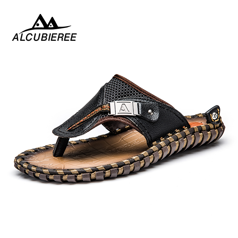 ALCUBIEREE Brand Men's Casual Shoes Genuine Leather Sandals Men Flip Flops Breather Slippers Plus Size Summer Sapato Masculino(China)
